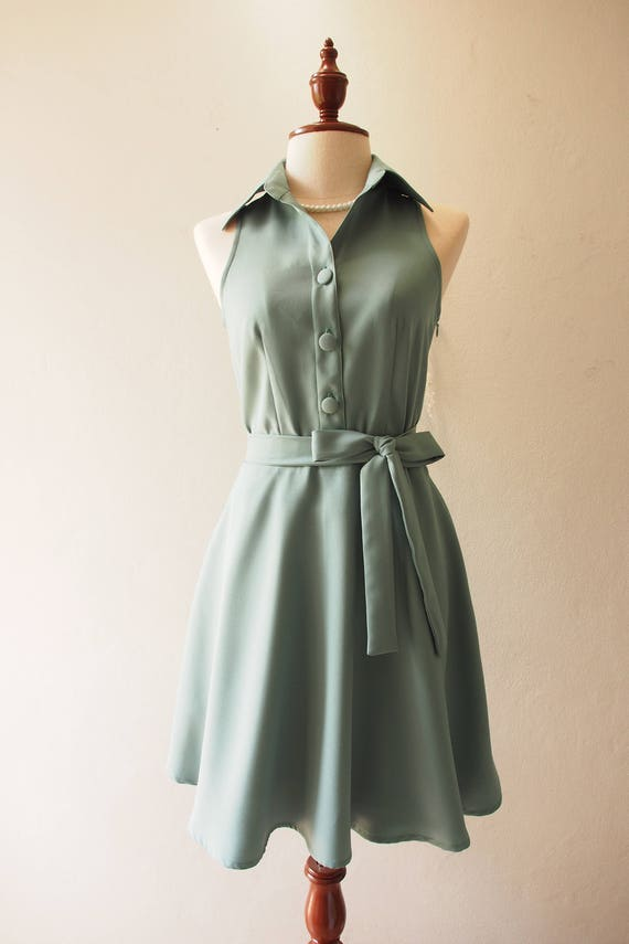 DOWNTOWN Sage Green Dress Shirt Dress Working Casual Dress Bridesmaid Dress Vintage Inspired Retro Style Fashion Dress no#198