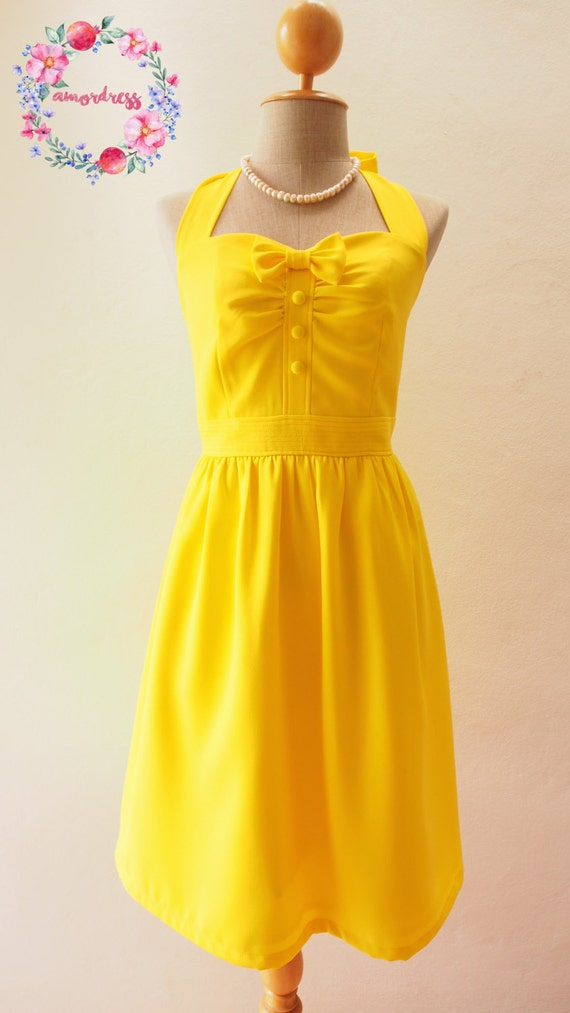 2019 Yellow Sundress Lemon Dress Canary Yellow Dress Summer Dress Bridesmaid Dress Fit and Flare Vintage Style Dress Fancy Party Dress