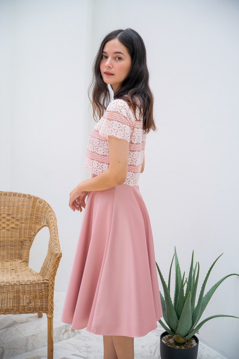 Pink Lace Crop Top and spaghetti straps dress vintage style image 0
