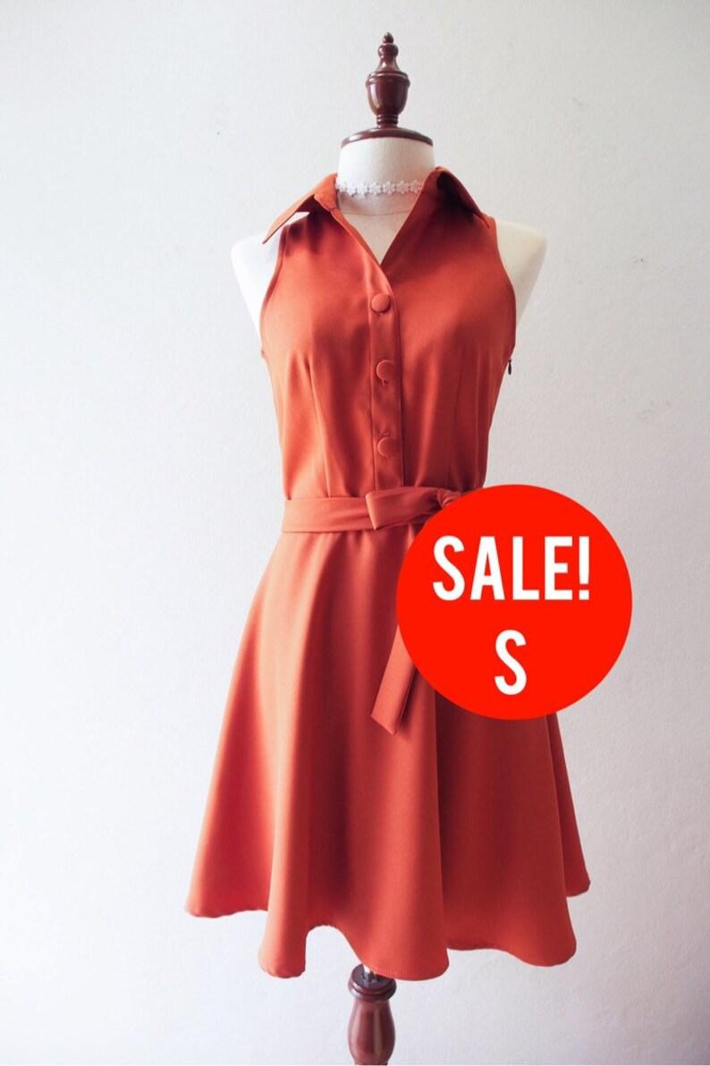 SALE  Brown Shirt Dress Size S image 0