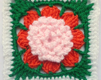 Instant Download Crochet PDF pattern - Peony in square motif