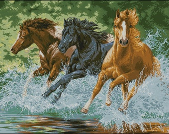 Instant Download Counted Cross Stitch Chart PDF Pattern N117ld - Runaway Horses