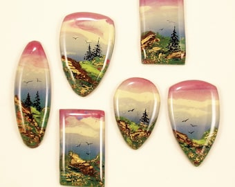StudioStJames Handcrafted Clay-Resin Cabochon-Purple Pink Blue Green Gold-Bead Embroidery Supplies PA 103580-103584,103589