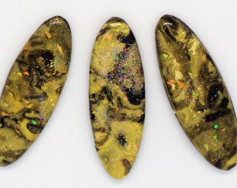 StudioStJames Handcrafted Clay-Resin Cabochon 3 Piece Set-Mix of Opal Salmon Gold-Embroidery Supplies PA 104344-104346