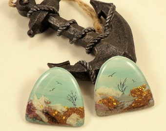 StudioStJames Handcrafted Polymer Clay Cabochon-Rocky Mountains-Montana-Waterfall-Bead Embroidery Supplies-PA 103812-103815