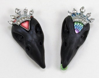 Quoth the Raven Hand-sculpted Polymer Clay Raven Skull Pendant and Earring Set OOAK