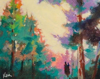 """Abstract Trees, Landscape Painting, Couple, Fall Colors Original 12x24"""" A Wandering Afternoon"""