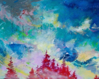 """Extra Large Abstract Expressionist Landscape Painting, Blue Artwork, 60x36"""" What We Heard in the Canyon"""
