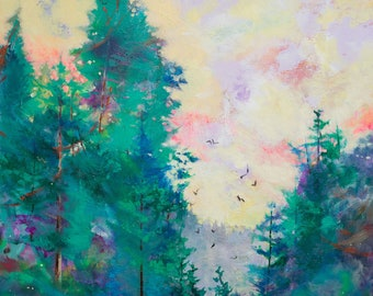 """Large Original Impressionist Landscape Painting, Abstract Trees, 36x35"""" Alone with the Crows"""