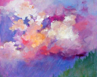 "Small Abstract Skyscape Painting, Colorful Loose Brushstrokes, Under 100 Work on Paper, ""Spring Rains"" 12x12"""
