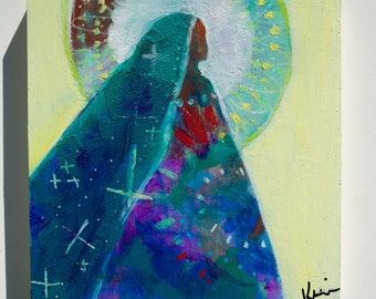 "Small Abstract Figure Painting, Spiritual Faith Artwork Original 8x8"" Prayer Veil"
