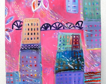 """Original Whimsical Wall Hanging Cityscape Painting Child's Room Decor  """"Spring Rain"""""""