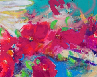 """Extra Large, Vibrant, Bold Abstract Floral, Intuitive Gestural Original Painting 60x36"""" Cherry Blossoms"""