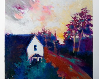 """Small Vibrant Landscape Painting with a Colorful Sky 10x10"""" Last House on the Dirt Road"""