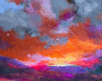 """Abstract Impressionist Landscape Skyscape on Canvas 24x12"""" Driving Away the Dark"""