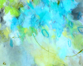 """Large Abstract Expressionist Painting on Canvas, Gestural Intuitive Art, """"Morning Sun in Blue"""" 24x24"""""""