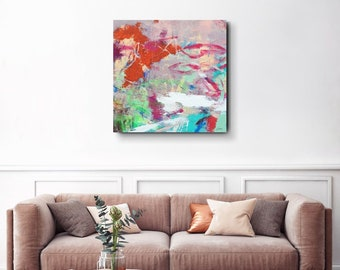 """Large Abstract Expressionist Painting, Layers, Texture, Gestural 36x36"""" Taste the Sweetness in the Wind"""