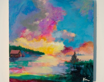 """Small Landscape Painting, Cabin Life Peaceful, Colorful Skyscape 10x10"""" How It Feels to Be Free"""
