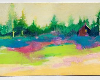 "Small Landscape Study, Works on Paper, Original 6x12"" Dreams"