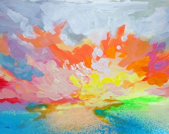 """Loose, Colorful Impressionist Skyscape Painting on Paper, Cloud Study 12x6"""""""