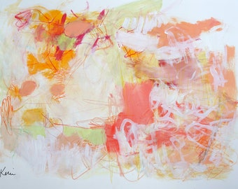 """Mixed Media Intuitive Abstract Warm Colors on Paper, Original Modern Art Painting 24x18"""" A Last Warm Day"""