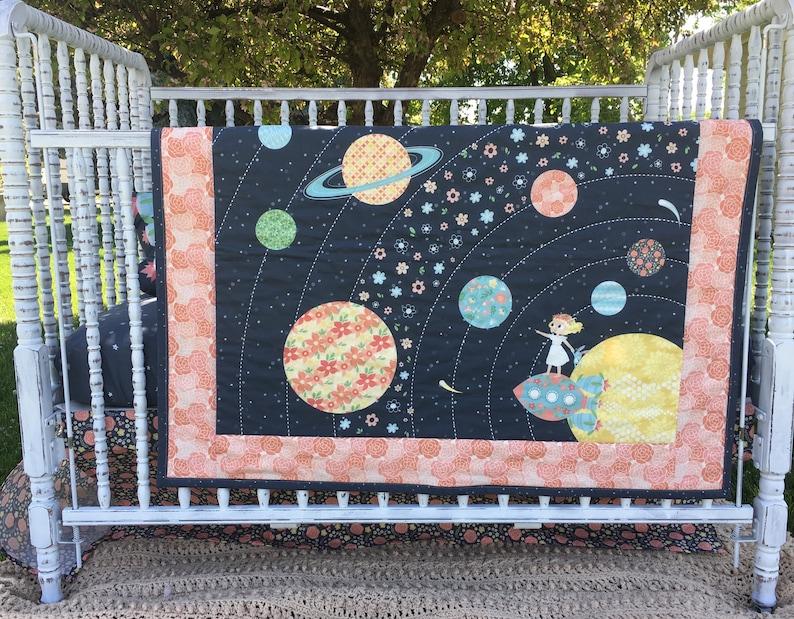Baby Quilt Nomi /& Brave Travel the Universe; Crib bedding; Girl Nursery; Baby Girl; STEM for girls; Science for girls