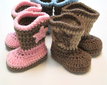 6ebdd2717bb Baby cowboy boots. Made to order. Several sizes and colors available. Infant  crochet baby bootes