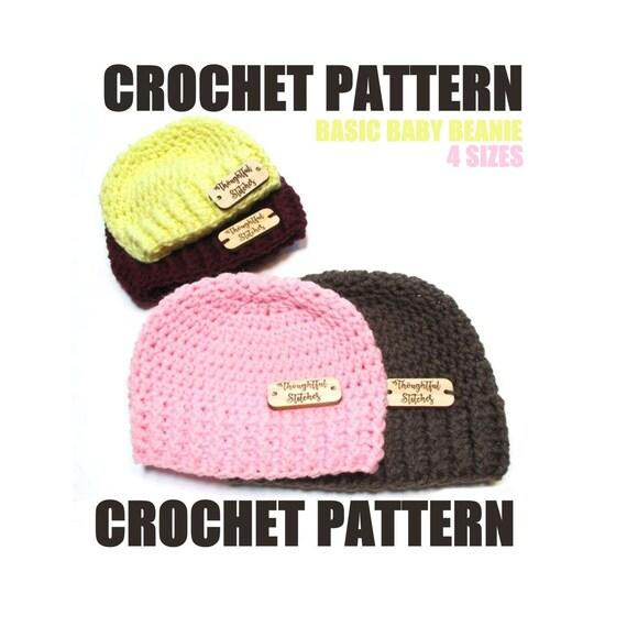 Crochet Pattern Basic Baby Beanie Sizes Newborn To 12 Etsy