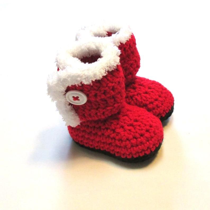 2765374c8 Baby santa boot booties. Crochet Christmas booties for infant