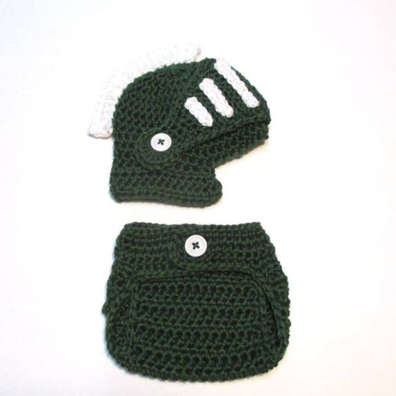 0b752bcd7 Newborn hat and diaper cover set. Made in Michigan State spartan hat and  diaper cover. Photography prop for newborn. Baby shower gift.