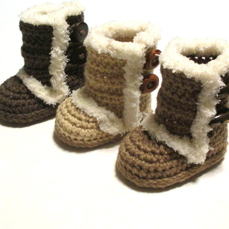 d1325b01024 Ugg inspired winter boots for baby. Crochet baby boot booties. Trendy baby  booties. Made to order.