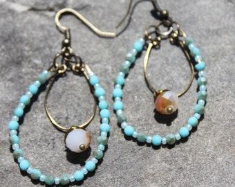 Boho Crystal Aquamarine Beaded Dangle Earrings