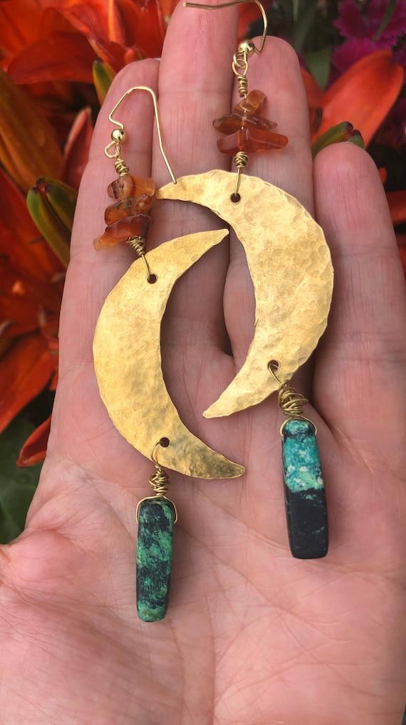 Tiger Eye Crescent Moon Earrings
