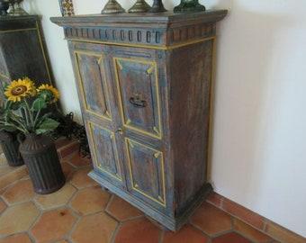 Antique wood European linen cabinet