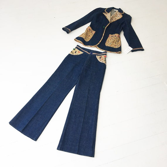 1970s Denim Suit French Dressing Co. Calico Trim … - image 10