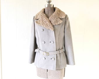 Vintage 1940s Wool Coat Persian Lamb Collar Double Breasted Belted Cropped 36
