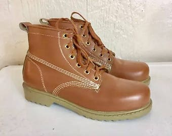 Deadstock Work Boots Lace Up 7 C USA VTG Japan New Deadstock