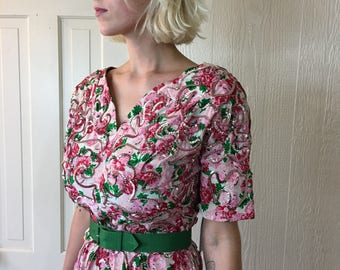 Vintage 50s Sequin Silk Dress Floral Print Bombshell Wiggle Style 38 - 28 - 40 actual measurements