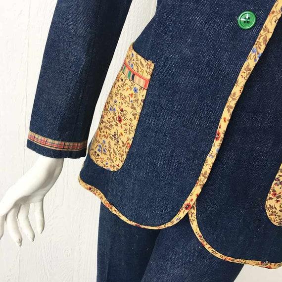 1970s Denim Suit French Dressing Co. Calico Trim … - image 7