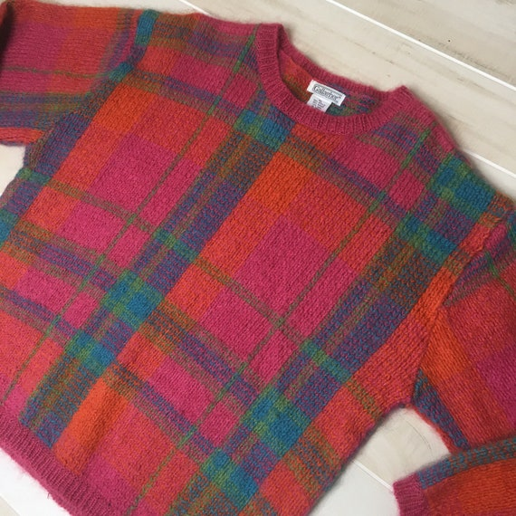 Vintage 80s Mohair Graphic Plaid Sweater Size XL O