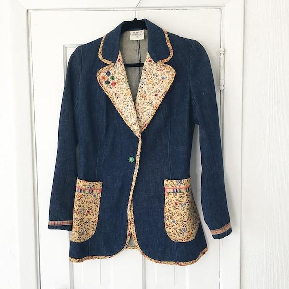 1970s Denim Suit French Dressing Co. Calico Trim … - image 5