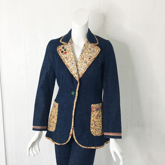 1970s Denim Suit French Dressing Co. Calico Trim … - image 2