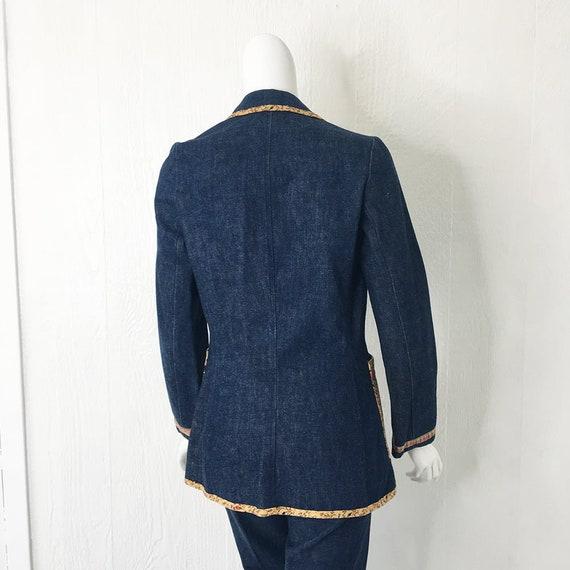 1970s Denim Suit French Dressing Co. Calico Trim … - image 8
