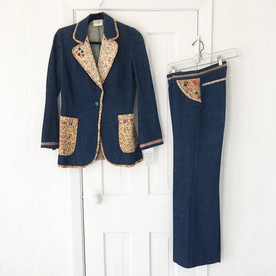 1970s Denim Suit French Dressing Co. Calico Trim … - image 4