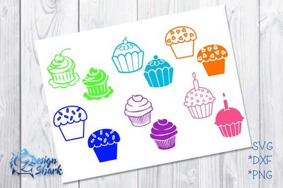 Cupcake Outline and Fill Set SVG/DXF/PNG