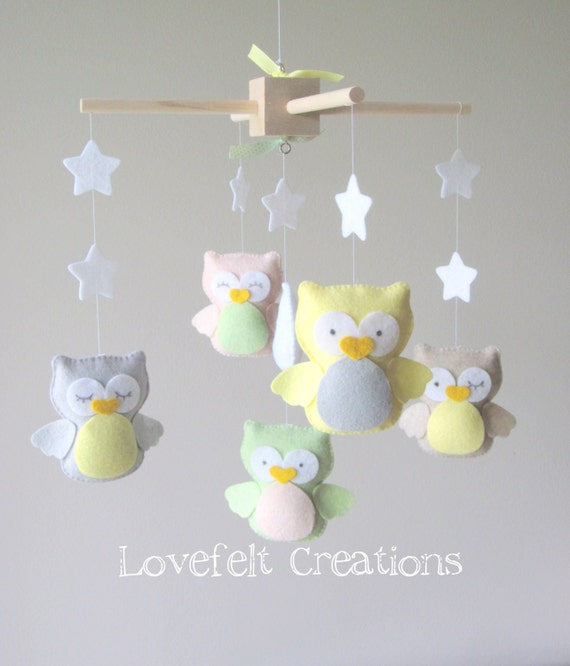 Baby Crib Mobile Baby Mobile Owl Mobile Neutral Mobile Etsy