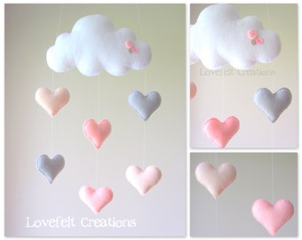 Baby mobile - Heart mobile - cloud mobile - pink and gray mobile