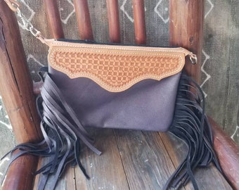 CHRISTMAS EARLY! All leather soft sided smooth finish brown wristlet handbag with fringe and 2 sided hand tooled topper. Free Shipping