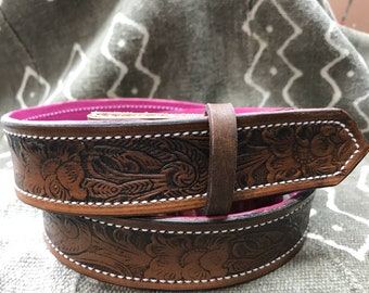 Clearance Sale! Leather belt: antique stained, scrolling floral pattern- striking pink leather backing - size 36 FREE SHIPPING
