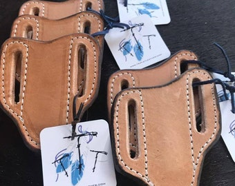SALE!!! Knife sheath/holster. Solid leather,  pancake sheath, smooth finish, handmade, fits standard 2 blade trapper knife. FREE SHIPPING